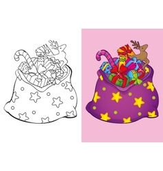 Coloring Book Of Christmas Bag With Toys vector