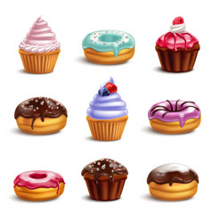 cookie sweets icon set vector image