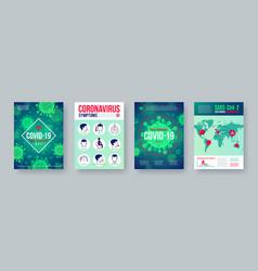 coronavirus poster set with infographics elements vector image