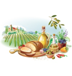 Country Still life against landscape vector image