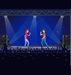 couple of performers singing song on stage vector image
