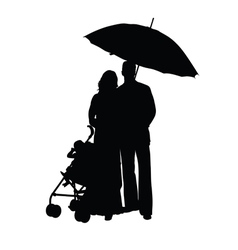 couple with baby carriage silhouette vector image