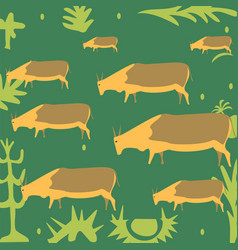 Cows in the meadow vector