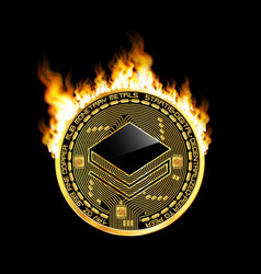 crypto currency stratis golden symbol on fire vector image