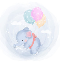Cute baby elephant flying with balloons vector