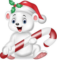 Cute baby polar bear holding Christmas candy vector image