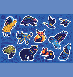 decorative canadian animal sticker set vector image
