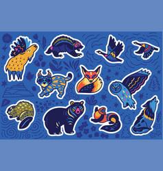 Decorative canadian animal sticker set vector