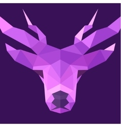 Deer polygons horned animal head logo vector image