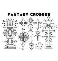 Design set with fantasy crosses 4 vector