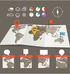 Earth maps set with and charts vector