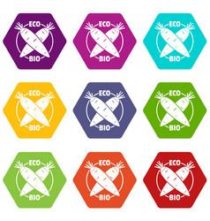 eco bio vegetables icons set 9 vector image