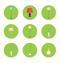 electricity lamps isolated in green circles set vector image