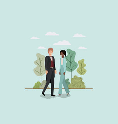 Elegant business couple walking in the park vector