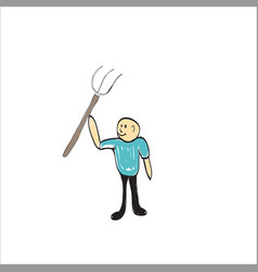 farmer with a pitchfork vector image