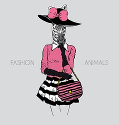 Fashion of zebra lady in hat vector