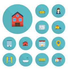 Flat icons property home blueprint and other vector