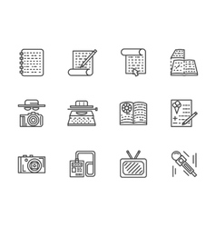 Flat line journalism icons set vector image