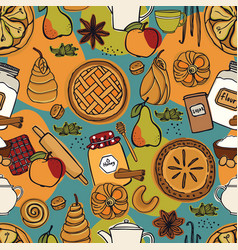 Fresh bakery apple vanilla honey seamless pattern vector