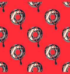 Funky doughnut seamless pattern vector