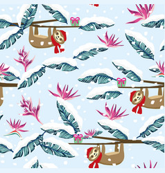 funny cartoon sloth gift box snowy tropical vector image