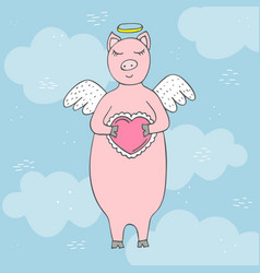 funny hand-drawn pig cupid in clouds with wings vector image