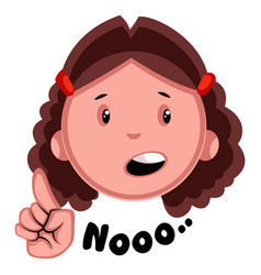 Girl saying no on white background vector