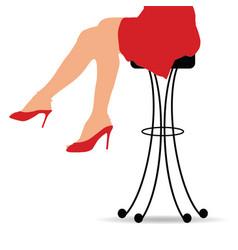 girl sitting on bar stools furniture vector image