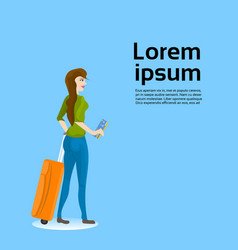 girl traveler holding suitcase and ticket over vector image