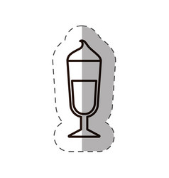 Glass cup coffee cream straw line vector