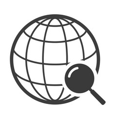 Globe black icon travel around world symbol vector