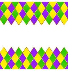 Green purple yellow grid Mardi gras frame vector image