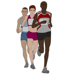 group of marathon runners vector image