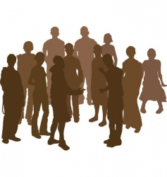 group silhouette vector image
