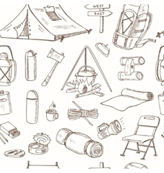 Hand drawn camping equipment drawings seamless vector image