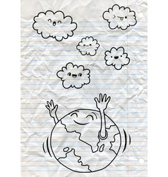 Hand drawn doodle world and cloud line tools vector