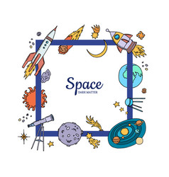 hand drawn space elements flying vector image