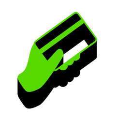 Hand holding a credit card green 3d icon vector