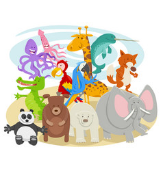 Happy cartoon wild animal characters group vector