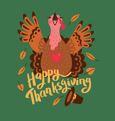Happy thanksgiving card with turkey cartoon vector
