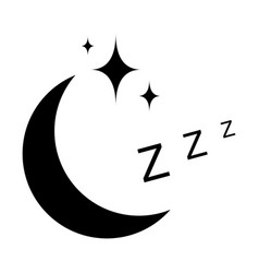 icon sleep sign sleeping moon with stars vector image