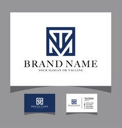 Initials tm logo with a business card vector