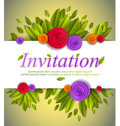 invitation event card with fresh green leaves and vector image