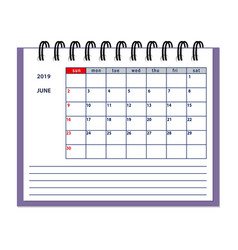 isolated june page 2019 planner calendar vector image