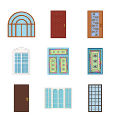 Isolated object door and front icon set of vector