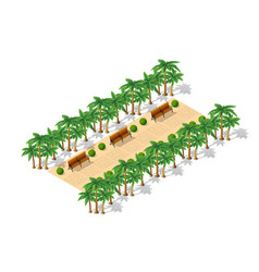 Isometric 3d park with a green vector