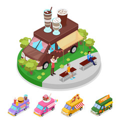isometric street food truck cafe with people vector image