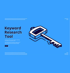 keyword research tool banner with isometric icon vector image