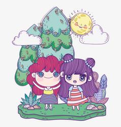 kids cute little girls anime cartoon in field vector image