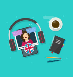 learn english online on cellular phone or study vector image